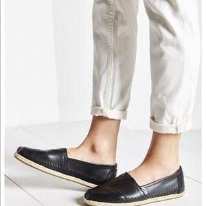TOMS Black Leather Espadrille Slip-on